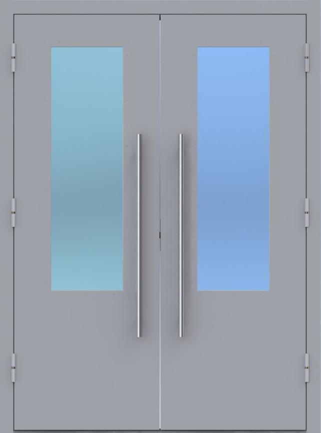 Двупольная техническая дверь с двойным остеклением